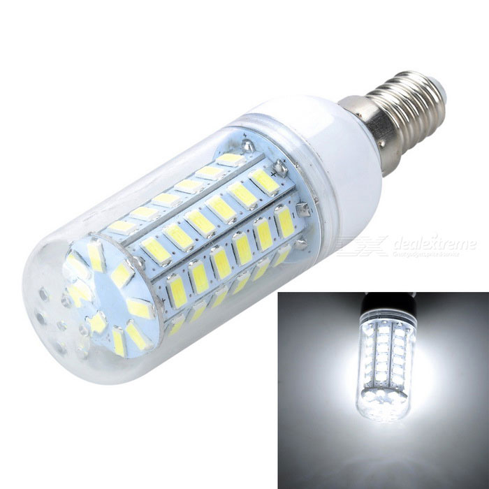 Buy E14 4W 1000lm Cold White Light 56*SMD 5730 LED Corn Bulb (220-240V) with Litecoins with Free Shipping on Gipsybee.com