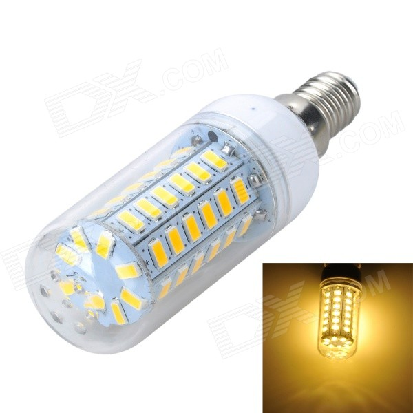 Marsing E14 4W Warm White Light 56*SMD 5730 LED Corn Bulb (220-240V)E14<br>Form  ColorWhite + Yellow + Multi-ColoredColor BINWarm WhiteModelE56MaterialPlastic + aluminumQuantity1 DX.PCM.Model.AttributeModel.UnitPower4WRated VoltageAC 220-240 DX.PCM.Model.AttributeModel.UnitConnector TypeE14Chip BrandOthers,N/AEmitter TypeOthers,5730 SMD  LEDTotal Emitters56Actual Lumens900-1000 DX.PCM.Model.AttributeModel.UnitColor Temperature12000K,Others,3000-3500KDimmableNoBeam Angle360 DX.PCM.Model.AttributeModel.UnitCertificationCE, RoHSPacking List1 x LED light bulb<br>