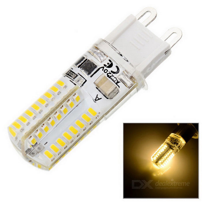 G9 9W 800lm 3500K Warm White Light 64*SMD LED Corn Bulb (AC 220V)G9<br>Form  ColorWhite + Yellow + Multi-ColoredColor BINWarm WhiteModelM12MaterialSilicone + AluminumQuantity1 DX.PCM.Model.AttributeModel.UnitPower9WRated VoltageAC 220 DX.PCM.Model.AttributeModel.UnitConnector TypeG9Chip BrandHugaChip TypeLEDEmitter TypeOthers,3014 SMD LEDTotal Emitters64Actual Lumens600-800 DX.PCM.Model.AttributeModel.UnitColor Temperature12000K,Others,3000-3500KDimmableNoBeam Angle360 DX.PCM.Model.AttributeModel.UnitCertificationCE, RoHsPacking List1 x LED Bulb<br>