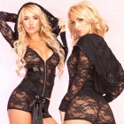 Womens-Fashionable-Sexy-Lace-V-Neck-Sleep-Dress-Lingerie-Set-Black