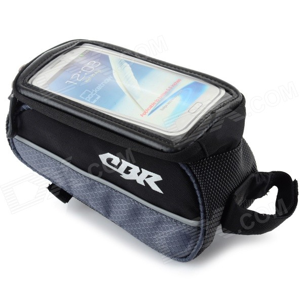 CBR Outdoor Cycling Bike Touch Screen Top Tube Bag - Black + GreyBike Bags<br>Form ColorBlack + GreyModelCBR-14Quantity1 DX.PCM.Model.AttributeModel.UnitMaterialOxford fabricTypeOthers,Top tube bagCapacityNo DX.PCM.Model.AttributeModel.UnitWaterproofNoBest UseCyclingPacking List1 x Top tube bag<br>