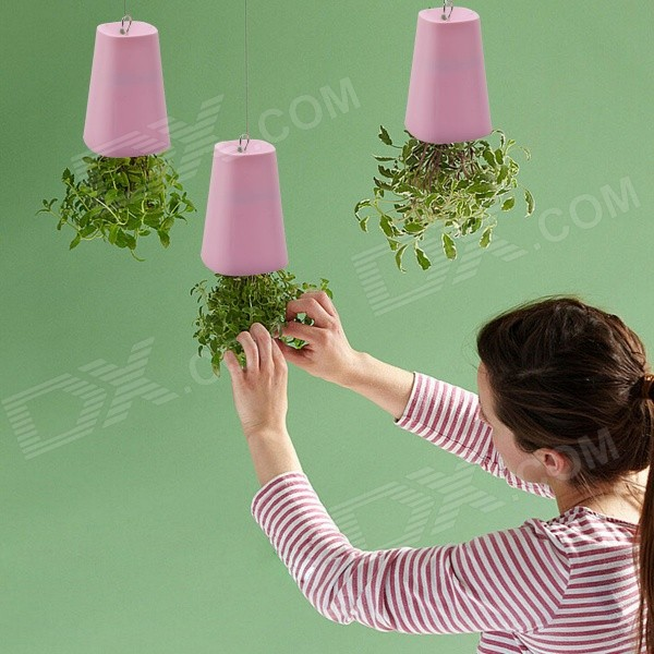 Buy NEJE GZ0018-3 Upside-Down Plastic Flower Plant Pot Set - Pink with Litecoins with Free Shipping on Gipsybee.com