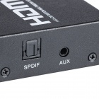 Aoluguya AL01 1080P 2 x 4 3D HDMI 1.4a Switch / Splitter w/ 3.5 mm Audio Output US Plugss - Black