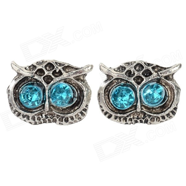 Buy Women's Fashion Owl Style Inlaid Zinc Alloy Ear Studs - Antique Silver + Blue (Pair) with Litecoins with Free Shipping on Gipsybee.com