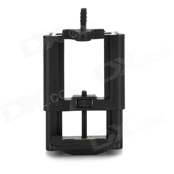 GP-1 Universal 1/4 Connector 50~100mm Adjustable PC Cellphone HolderMounts &amp; Holders<br>BrandN/AForm  ColorBlack + SilverModelGP-1MaterialPCQuantity1 DX.PCM.Model.AttributeModel.UnitMount TypeOthers,Fixed holderCompatible ModelsSuitable for cellphones within 100mm widthCompatible Size(inch)50~100mm widthOther FeaturesBottom with 14 universal connectorPacking List1 x Holder<br>