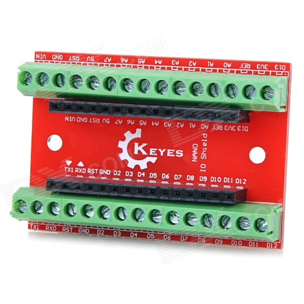 KEYES EB0057 NANO IO Expansion Board Shield pour Arduino - rouge + vert