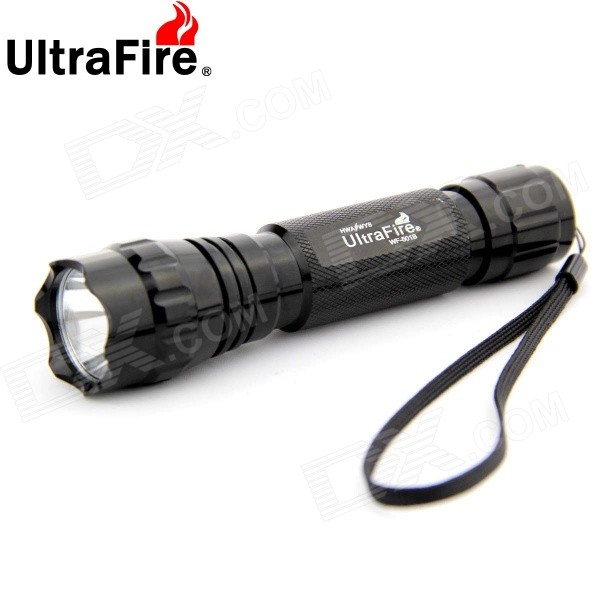 Ultrafire WF-501B 1-LED 900lm 5-Mode White Light Flashlight Set - Black (1 x 18650)18650 Flashlights<br>Form  ColorBlackModelWF-501BQuantity1 DX.PCM.Model.AttributeModel.UnitMaterialAluminum alloyEmitter BrandOthers,N/ALED TypeOthers,XP-LEmitter BINothers,V5Number of Emitters1Color BINCold WhiteWorking Voltage   3.6-4.2 DX.PCM.Model.AttributeModel.UnitPower Supply1 x 18650 (included, also comes with a backup one)Current2800 DX.PCM.Model.AttributeModel.UnitTheoretical Lumens900 DX.PCM.Model.AttributeModel.UnitActual Lumens900 DX.PCM.Model.AttributeModel.UnitRuntime1-3 DX.PCM.Model.AttributeModel.UnitNumber of Modes5Mode ArrangementHi,Mid,Low,Fast Strobe,SOSMode MemoryYesSwitch TypeReverse clickySwitch LocationTailcapLensGlassReflectorAluminum SmoothBeam Range250 DX.PCM.Model.AttributeModel.UnitStrap/ClipStrap includedPacking List1 x Flashlight with strap2 x 18650 Batteries 1 x Dual-slot US plug battery charger (100-240V, 50/60Hz)<br>