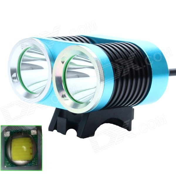 ZHISHUNJIA ZSJ-B22 1600lm 4-Mode White 2-LED Bicycle Light - Blue + Black (4 x 18650)Bike Lights<br>Form  ColorBlue + Black + Multi-ColoredModelZSJ-B22Quantity1 DX.PCM.Model.AttributeModel.UnitMaterialAluminum alloyEmitter BrandOthers,N/ALED TypeXM-LEmitter BINT6Number of Emitters2Color BINNeutral WhiteWorking Voltage   8.4 DX.PCM.Model.AttributeModel.UnitPower Supply4 x 18650 (4400mAh, included)Current3.2 DX.PCM.Model.AttributeModel.UnitTheoretical Lumens1800 DX.PCM.Model.AttributeModel.UnitActual Lumens1600 DX.PCM.Model.AttributeModel.UnitRuntime4 DX.PCM.Model.AttributeModel.UnitNumber of Modes4Mode ArrangementHi,Mid,Low,Fast StrobeMode MemoryNoSwitch TypeForward clickyLensGlassReflectorAluminum SmoothFlashlight MountingHandlebar and HelmetSwitch LocationTailcapBeam Range300 DX.PCM.Model.AttributeModel.UnitBike Lamp Interface Size3.5mmBattery Pack Interface Size3.5mmPacking List1 x Bicycle light (90cm-cable)2 x Rubber rings 1 x Battery pack (37cm-cable)1 x EU plug power charger (100~240V / 90cm)<br>