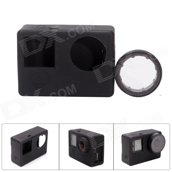 Fat Cat CS-4 Protective Silicone Shell Case w/ UV Filter for GoPro Hero 4 / 3+ /3 - Black