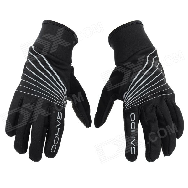 SAHOO Outdoor Windprood Full-Finger Cycling Gloves - Black (Pair)