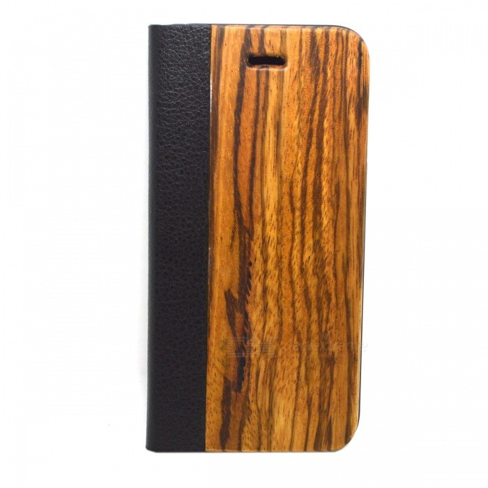 Protective PU Leather + PC Flip Open Wooden Case for Iphone 6
