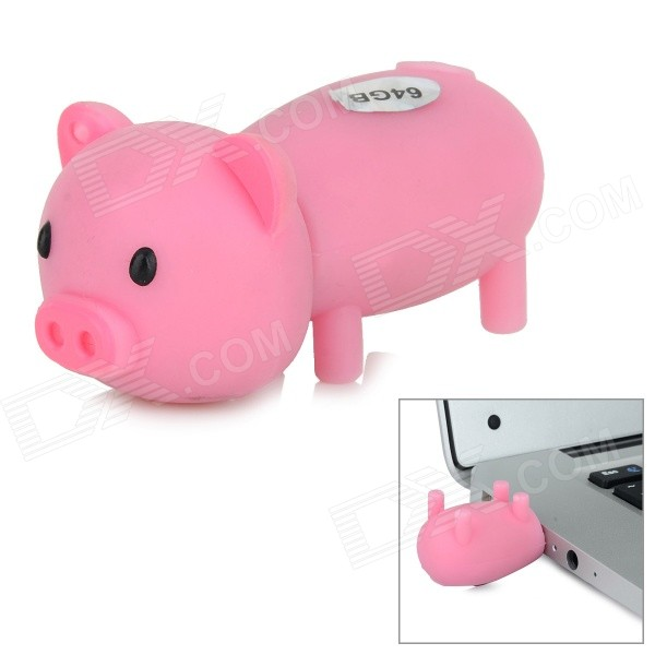 Cute Cartoon Piggy Shaped USB 2.0 Flash Drive - Pinkish Purple (64GB)