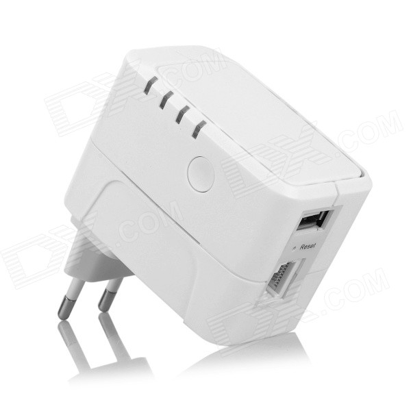 UNT-01 300Mbps Wireless-N Wi-Fi Repeater w/ 2A USB Charging Interface - White (EU Plug)