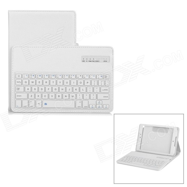 "Removable Bluetooth v3.0 64-Key Keyboard w/ PU Case for Google Nexus 9 8.9"" - White"