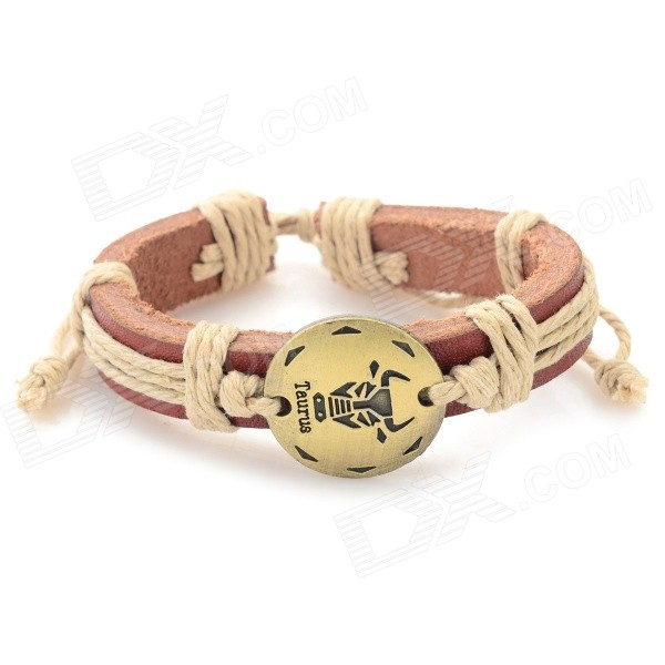 Fashion Taurus Design Split Leather Bracelet