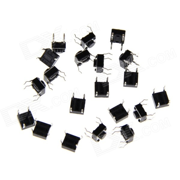 6 x 6 x 4.3mm Slightly Touch Button Tact Switches - Black (20 PCS)DIY Parts &amp; Components<br>ModelN/AQuantity1 DX.PCM.Model.AttributeModel.UnitForm  ColorBlackMaterialPCEnglish Manual / SpecNoCertificationN/APacking List20 x Switches<br>