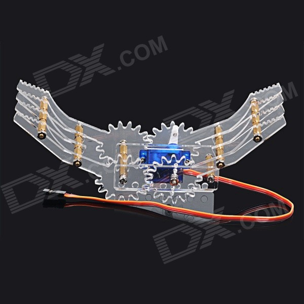 KB000850 DIY Plastic + Brass Robot Clamp Gripper - Transparent + Blue + Multicolored (S)Other Accessories for R/C Toys<br>Form  ColorTransparent + Sky Blue + Multi-ColoredModelKB000850MaterialPlastic + brassQuantity1 DX.PCM.Model.AttributeModel.UnitCompatible ModelDIY gripperOther FeaturesMax. stretch: 16.5cmPacking List1 x Pack of P0090 9g steering gear parts5 x M3x12+6mm brass pillars9 x M3x10+6mm brass pillars2 x Pillar supporting connectors4 x Left &amp; right grippers4 x Auxiliary grippers1 x Steering gear holder (middle)1 x Steering gear holder (bottom)1 x Pack of screws &amp; nuts (screws, M2 nuts, M3 nuts)<br>