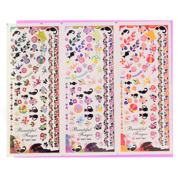 HOT-049-051 Nail Art Stickers fai da te - Multi-colore