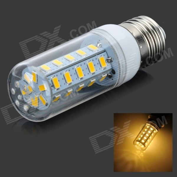 E27 10W 500lm Warm White /Cool White  36-5730 SMD LED Corn Bulb Lamp (AC220-240V)---Silver + White + Multi-Colored