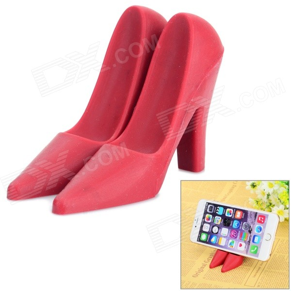 High-Heeled Shoes Style Mini Desktop Holder for Mobile Phone - RedMounts &amp; Holders<br>Form ColorRedModelN/AMaterialSiliconeQuantity1 DX.PCM.Model.AttributeModel.UnitMount TypeDesktopCompatible ModelsUniversalCompatible Size(inch)Other FeaturesCompatible with 7 cellphones, MP4 / 5, GPS, tablet PCs or those smaller than 7.Packing List1 x Pair of holders<br>