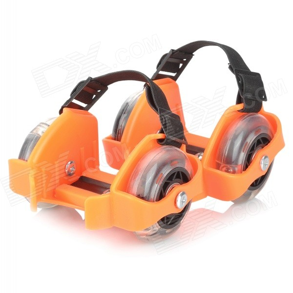 Kid's Whirlwind Pulley Portable Skates w/ RGB Roll - Orange + Black
