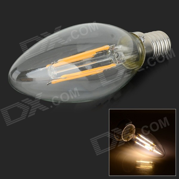 E14 4W 350lm 3000K 4-LED Warm White Light Candle Bulb(AC 220V)
