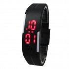 Sports Unisex Silicone Band LED Bracelet Watch - Black