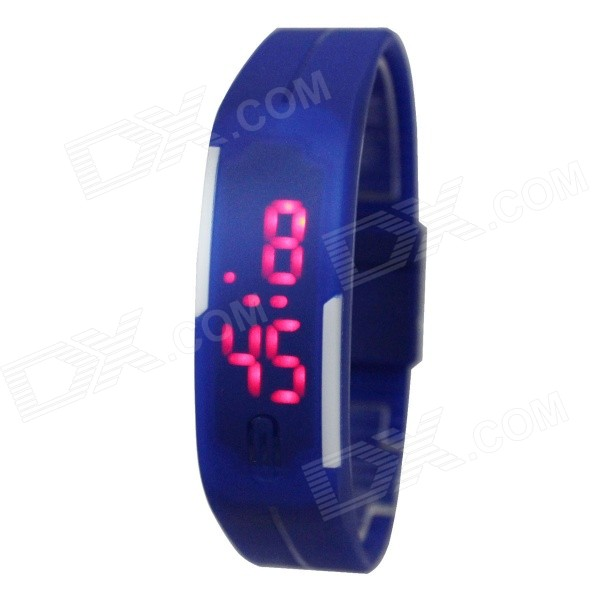 Buy Sports Unisex Silicone Band LED Bracelet Watch - Blue with Litecoins with Free Shipping on Gipsybee.com