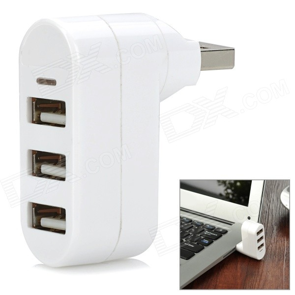 Rotary USB 2.0 Data / Charging Hub w/ 3-Port USB 2.0 - WhiteUSB Gadgets<br>Form ColorWhiteModelYB-872Quantity1 DX.PCM.Model.AttributeModel.UnitMaterialABSInterfaceUSB 2.0Powered ByUSBSupports SystemWin xp,Win 2000,Win 2008Other FeaturesWith blue lightPacking List1 x Hub<br>