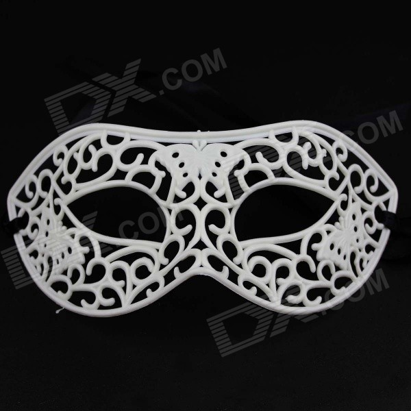 Cosplay Sexy Hollowed Plastic Masquerade Face Mask - White