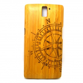 Compass-Pattern-Detachable-Bamboo-Back-Case-for-Oneplus-One-Yellow
