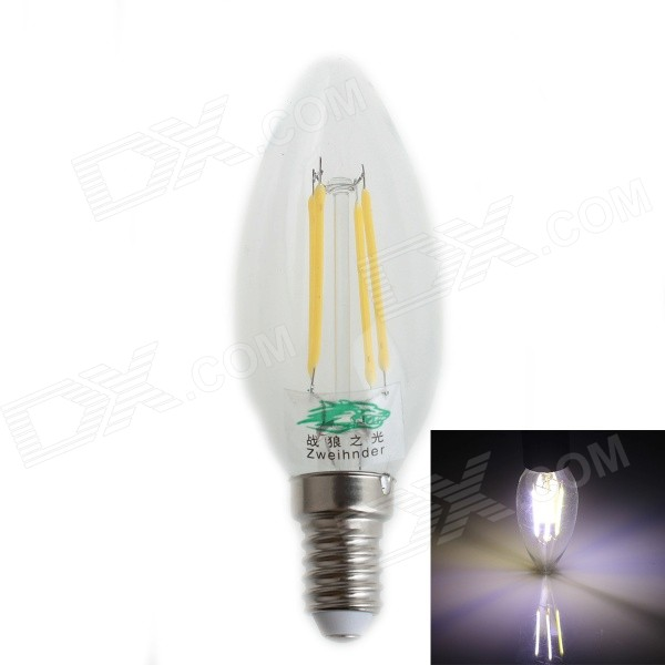 Zweihnder W020 E14 4W 380lm 4-LED Filament Neutral White BulbE14<br>Form  ColorTransparent + SilverColor BINNeutral WhiteModelW020MaterialAluminum alloy + glassQuantity1 DX.PCM.Model.AttributeModel.UnitPower4WRated VoltageAC 220-240 DX.PCM.Model.AttributeModel.UnitConnector TypeE14Chip BrandOthers,N/AChip TypeLEDEmitter TypeOthers,LED FilamentTotal Emitters4Theoretical Lumens400 DX.PCM.Model.AttributeModel.UnitActual Lumens380 DX.PCM.Model.AttributeModel.UnitColor Temperature5000K,5500-6000KDimmableNoBeam Angle360 DX.PCM.Model.AttributeModel.UnitPacking List1 x LED bulb<br>