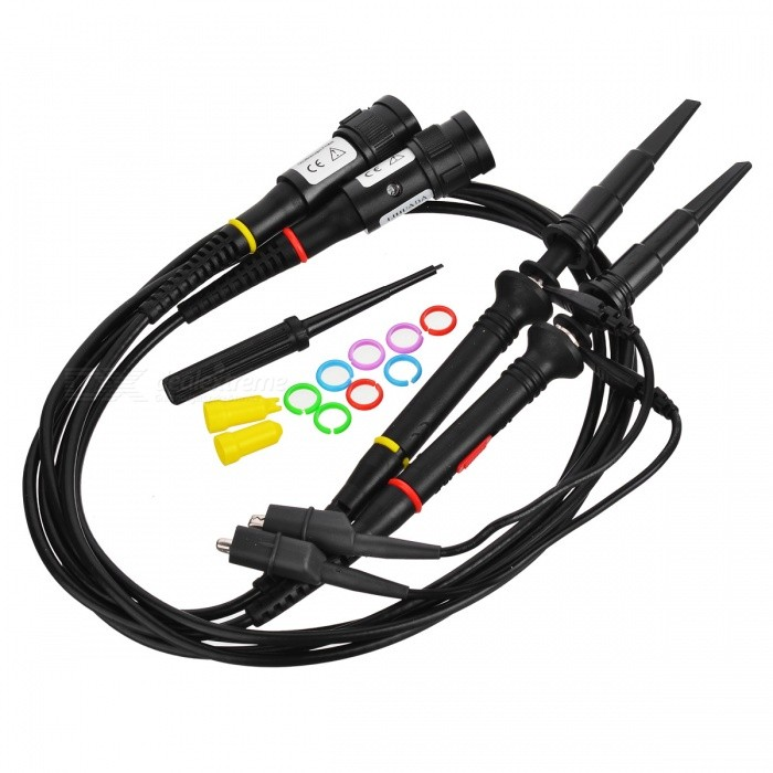 P2060 1X/10X 60MHz Oscilloscope Scope Clip Probe (120cm)Oscilloscope &amp; Logic Analyzer<br>Form ColorBlackModelP2060Quantity1 DX.PCM.Model.AttributeModel.UnitMaterialABS + Electronic componentOther FeaturesAttenuation ratio: 1X / 10X;<br>Input resistance: 1X (1M ohm); 10X (10Mohm);<br>Input capacitance: 1X (85pF~120pF); 10X (18.5pF~22.5pF);<br>Compensation range: 10pF~30pF;<br>Bandwidth: 1X: DC-6MHz, 10X: DC-60MHz;<br>Input voltage: 1X:300VDC + AC Vp-p10X: 600VDC+ AC Vp-p<br>Working temperature: -15~+75C;<br>Storage temperature: -20~+60C;<br>Relative humidity: =Packing List2 x Oscilloscope probes (120cm-cable)<br>