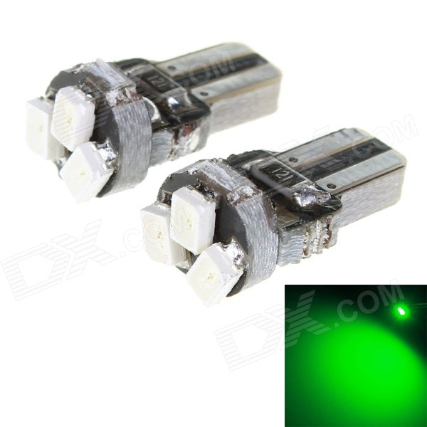 T5 1W 23lm 558nm 3-SMD 1206 Green Light Car Instrument Lamp (2PCS)