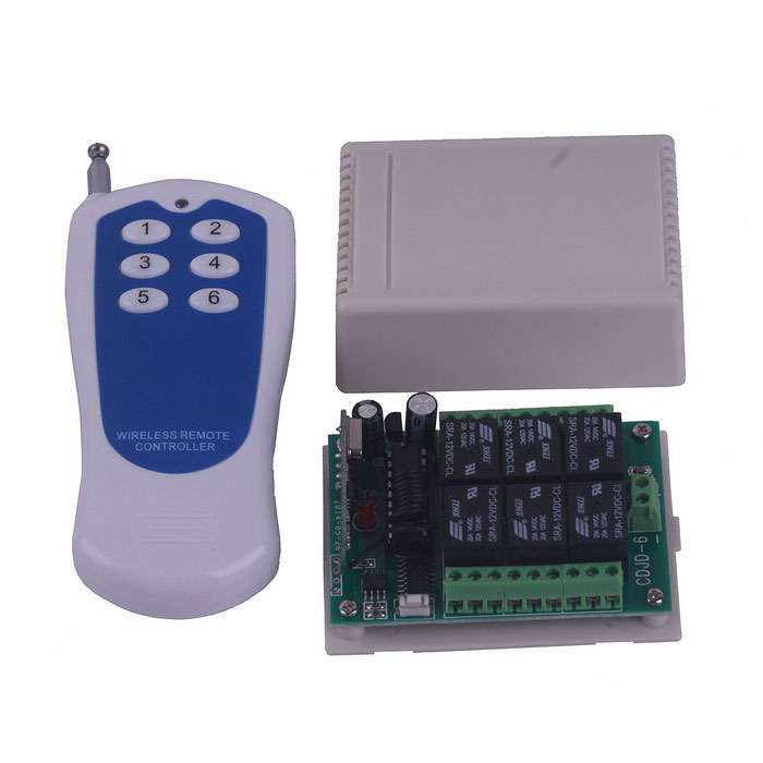 ZnDiy-BRY 12V 6-CH Multi-functional Remote Control Switch + 6-Key Remote Controller Set
