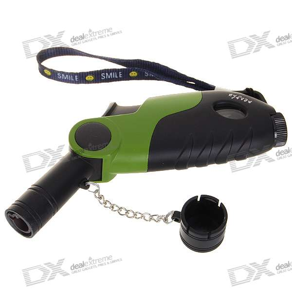 Windproof Butane Jet Torch Lighter with Strap - Black
