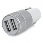 Universal Car Cigarette Lighter Charger Dual USB - Silver + White