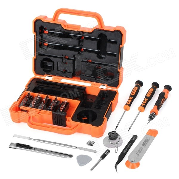 JAKEMY JM-8139 45-in-1 Precision Screwdriver Maintenance ToolkitScrewdriver, Screwdriver Set<br>Form ColorBlack + Orange + Multi-ColoredModelJM-8139Quantity1 DX.PCM.Model.AttributeModel.UnitMaterialChrome vanadium alloy steelScrew Head TypePhillips,Torx,All-in-OneOther FeaturesMetric system; With magnetism.Packing List1 x Suction cup1 x Eject pin tool1 x Triangular opening tool1 x 60mm extension bar1 x 30 utility knife1 x Roller opening tool1 x Metal spudger1 x Handle1 x Anti-static tweezer1 x Accessory box (includes 2 x PH2.5 to H5.0 sockets)1 x Star 0.8 screwdriver1 x Cross 1.5 screwdriver31 x Bits (Torx: T3 / T4 / T5 / T6 / T7 / T8 /T9 / T10 / T15 /T20; Hex: H1.3 / H1.5 / H2.0 / H3.0 / H4.0 / H5.0; Slot: 1.5 / 2.0 / 2.5 / 3.0 / 3.5; Cross: 1.0 / 1.5 / 2.0 / 2.5 / 3.5;  Triangle: 2.0; U type: U2.6; Star: 1.2 / 0.8; Triadius: Y2.0)<br>