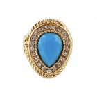 Rg-3661 Women's Rhinestones Alloy Ring - Golden + Blue (US Size 8)