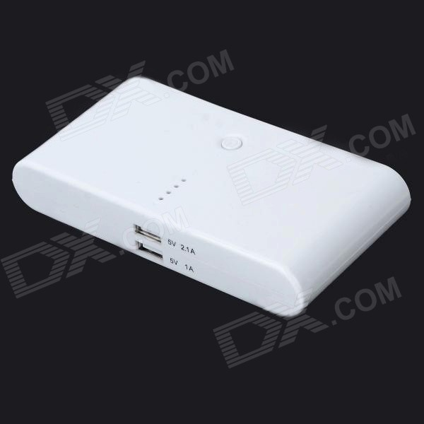 Dual USB 5V 16000mAh Li-polymer Battery Mobile Power Bank - White