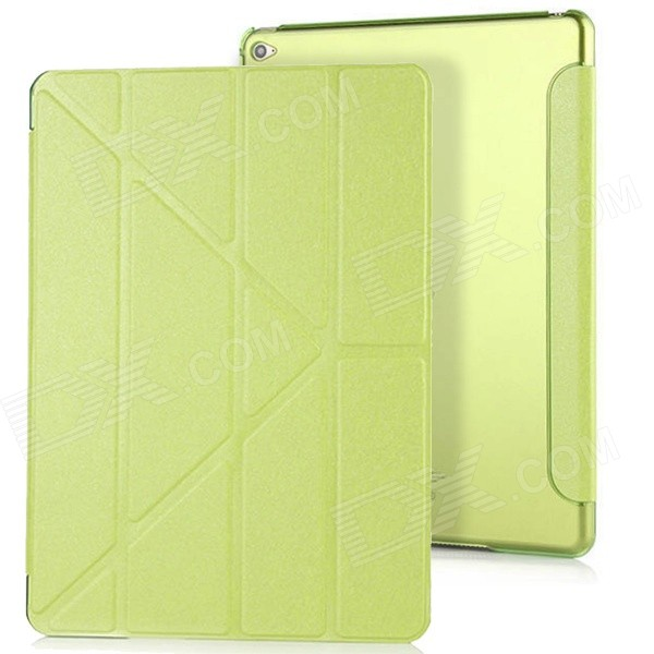 3-Fold PU Case Cover w/ Auto Sleep + Stand for IPAD AIR 2 - GreenIpad Cases<br>Form  ColorGreenQuantity1 DX.PCM.Model.AttributeModel.UnitMaterialPU LeatherShade Of ColorGreenCompatible ModelsIPAD AIR 2DesignSolid Color,With StandTypeLeather CasesAuto Wake-up / SleepYesPacking List1 x Protective case<br>