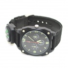 W-13 Cloth Band Quartz Analog Outdoor Sports Wrist Watch - Black