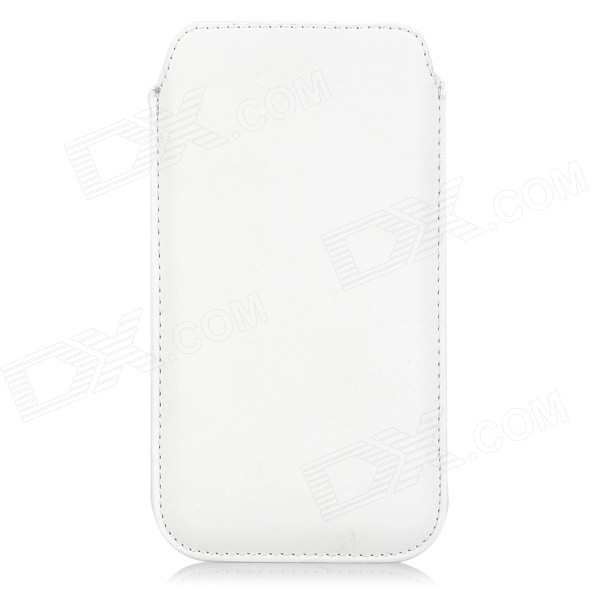 Protective PU Pouch Case w/ Pull Strap for IPHONE 6 PLUS - White