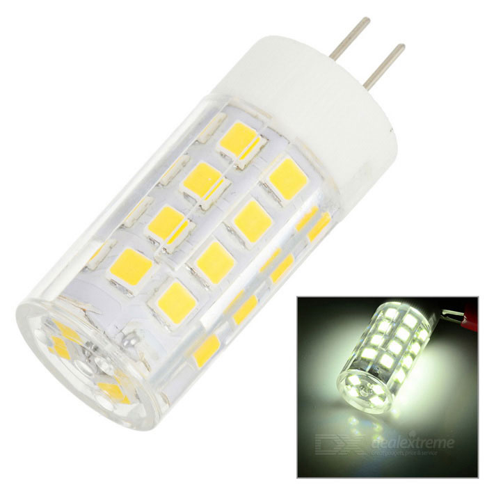 JR-LED G4 5W LED Light Warm White 3000K 400lm SMD 2835 (AC/DC 12V)G4<br>ColorWhite + Yellow + Multi-ColoredColor BINWarm WhiteModelJRLED-G4-2835-34DMaterialCeramic + PC + LEDQuantity1 PiecePower5WRated VoltageOthers,AC/DC 12 VConnector TypeG4Chip BrandOthers,N/AChip Type2835Emitter TypeOthers,2835 SMDTotal Emitters34Theoretical Lumens400 lumensActual Lumens200~400 lumensColor Temperature3000KDimmablenoBeam Angle360 °WavelengthNoCertificationCE, RoSHPacking List1 x LED light<br>