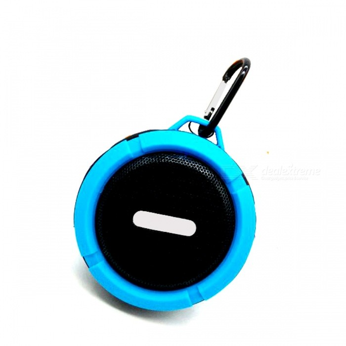 C6 IP65 Waterproof Bluetooth V3.0 Speaker w/ TF Slot - BlueBluetooth Speakers<br>Form ColorBlueModelC6MaterialPlasticQuantity1 DX.PCM.Model.AttributeModel.UnitShade Of ColorBlueBluetooth HandsfreeYesBluetooth VersionBluetooth V3.0Operating Range10mTotal Power5 DX.PCM.Model.AttributeModel.UnitChannels1.0Interface3.5mmMicrophoneYesSNR&gt;=80dBFrequency Response80Hz~20KHzImpedance4 DX.PCM.Model.AttributeModel.UnitApplicable ProductsIPHONE 5,IPHONE 4,IPHONE 4S,IPHONE 3G,IPHONE 3GS,IPOD,IPAD,Cellphone,IPHONE 5S,IPHONE 5CRadio TunerNoSupports Card TypeMicroSD (TF)Max Extended Capacity32GBBuilt-in Battery Capacity 400 DX.PCM.Model.AttributeModel.UnitBattery TypeLi-polymer batteryTalk Time2 DX.PCM.Model.AttributeModel.UnitStandby Time240 DX.PCM.Model.AttributeModel.UnitMusic Play Time4HPower AdapterUSBPacking List1 x Bluetooth speaker1 x USB cable (90cm)1 x English user manual<br>