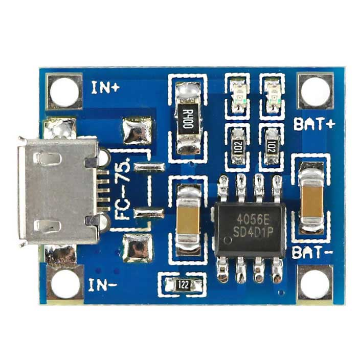 TP4056 DIY 1A Micro USB Battery Charging Board Charger Module - Blue
