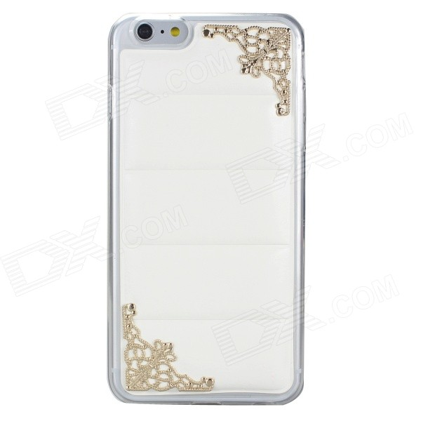 Hollowed Lace Corners TPU + PU Back Case for IPHONE 6 PLUS - White