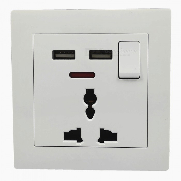 Montado en la pared de doble USB + Panel 3 orificios de alimentación de CA Socket - Blanco