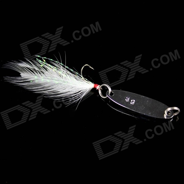 3g Feather Paillette Sequins Fishing Lure Bait Hook - Silver + White