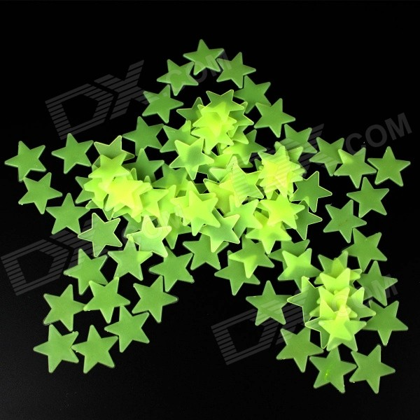 Estrellas pentagram estilo luminoso pegatinas decorativas - verde (100PCS)